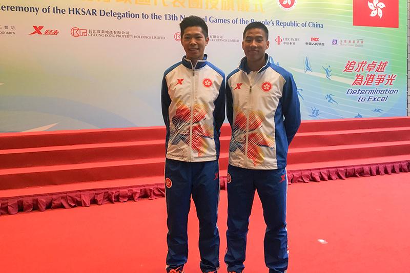 陳銘泰(右)與高澔塱(左)出戰全運會田徑項目。