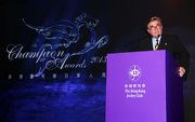 Mr T Brian Stevenson, Chairman of The Hong Kong Jockey Club, delivers a welcome speech at the 2013/14 Champion Awards presentation ceremony.