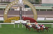 圖一, 二<br> 東方表行沙田錦標今天在沙田馬場舉行,由潘頓策騎的「軍事出擊」(3號– 綠色綵衣)勝出這場1,600米的香港二級賽。亞軍為「大運財」(2號),季軍為「雄心威龍」(4號)。