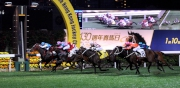Photo 1, 2:<br> PLEASURE GAINS with Douglas Whyte in the saddle wins the Hong Kong Group 3 January Cup (1800M) at Happy Valley tonight.