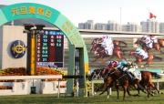 圖1, 2<br> 2015年首場分級賽華商會挑戰盃今日在沙田馬場舉行,「駿馬名駒」(5號)在郭能胯下勝出這項1400米香港三級賽。