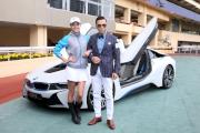圖7,8,9:<br> 著名武打巨星甄子丹再被委任成為「打吡大使」,於活動上他偕同名模Jocelyn Luko在BMW最新i8跑車前合照,並表示將於3月15日親臨沙田馬場,與入場市民一同為參賽馬匹打氣。