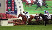 圖1, 2, 3, 4: 由練馬師蔡約翰訓練的「戰利品」(1號馬),於騎師潘頓胯下力壓「直震撼」(9號馬),勝出寶馬香港打吡大賽(香港一級賽2000米)。