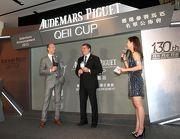 香港賽馬會賽馬事務執行總監利達賢及愛彼大中華區行政總裁梵衛,今日出席愛彼女皇盃獲選參賽馬匹名單公佈會,並與來賓分享連續17年為香港市民帶來這項頂級賽馬盛事的感受。