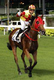 圖一、二、三: 莫雷拉夥拍 「創意寶」取得其在週三跑馬地賽事的第三場頭馬,並平了韋達一季內贏得一百一十四場頭馬的最高紀錄。