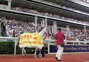 「加州萬里」最後一次在沙田馬場馬匹亮相圈巡行,與廣大馬迷道別。