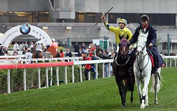 「明月千里」的馬主及親友,賽後與該駒的騎練一同祝捷。