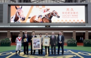 From  left: Jockey Brett Prebble, trainer Caspar Fownes, <em>Lucky Nine</em><em>'</em><em>s</em> owners Dr. Chang Fuk-to and his wife Maria Chang Lee Ming-shum,  Club Steward Michael Lee, Club CEO Winfried Engelbrecht-Bresges and Executive  Director, Racing Business and Operations, Anthony Kelly, pose for a group photo  at <em>Lucky Nine</em><em>'</em><em>s </em>farewell  ceremony.