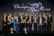 All presenters and award winners at the 2015/16 Champion Awards join for a group photo.