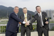 Club CEO Mr. Winfried Engelbrecht-Bresges, Executive Director, Racing Authority Mr. Andrew Harding and Executive Director, Racing Business and Operations Mr. Anthony Kelly toast to the successful conclusion of the 2015/16 Hong Kong racing season.
