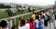 同日舉行新馬季草地試閘,觀眾在草地跑道旁感受馬匹奔馳及衝刺的震撼。
