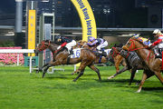 King Of Mongolia (no.6) wins the Green Land Handicap over a mile at Happy Valley last term with Joao Moreira on board.