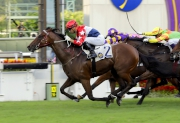 Joao Moreira rode Joyful Trinity for a win in a Class 2 1600m event at Sha Tin on 26 June.