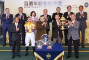 5, 6, 7<br>Lester C H Kwok, a Steward of The Hong Kong Jockey Club, presents the Centenary Sprint Cup winning trophy and the silver dishes to Huang Kai Wen, owner of winning horse Peniaphobia , winning trainer Tony Cruz and jockey Neil Callan.