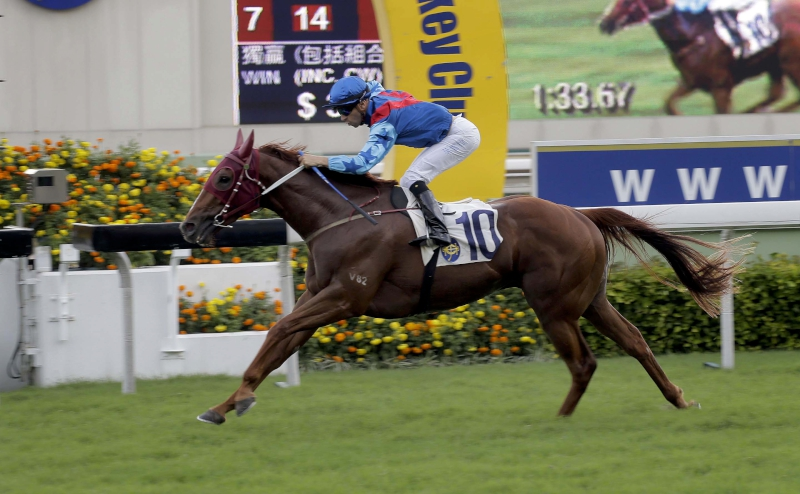 Joao Moreira steers Rapper Dragon to an impressive victory in the HKG3 Lion Rock Trophy last season.