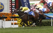 1, 4, 5<br>Werther (No. 3), ridden by Hugh Bowman and trained by John Moore, edges Blazing Speed (No. 4) to win the Citi Hong Kong Gold Cup (G1 2000m) - the second leg of the Triple Crown.