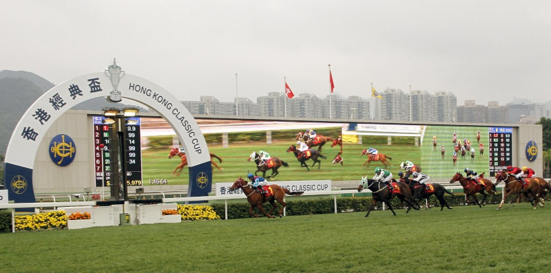 The Joao Moreira-ridden Rapper Dragon (No. 1), trained by John Moore, wins the Hong Kong Classic Cup (1800m), second leg of the Hong Kong Four-Year-Old Series, at Sha Tin Racecourse today.