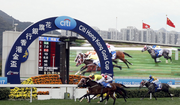 Werther (No. 3), ridden by Hugh Bowman and trained by John Moore, edges Blazing Speed (No. 4) to win the Citi Hong Kong Gold Cup (G1 2000m) - the second leg of the Triple Crown.