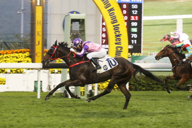 Prawn Baba completes Joao Moreira's eight-timer in a Class 2 1800m event two weeks ago.