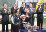 Photos 3, 4, 5: At the trophy presentation ceremony, Club��s Steward The Hon Sir C K Chow presents the Sprint Cup and silver dishes to representative of Mr Stunning��s owner Maurice Koo Win Chong, trainer John Size and jockey Joao Moreira at the presentation ceremony.