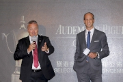 Anthony Kelly, Executive Director, Racing Business and Operations of HKJC (left) and David von Gunten, CEO, Greater China of Audemars Piguet (right) officiate at today��s Selections Announcement. They share the long history and the strong connection between HKJC and Audemars Piguet in presenting this world-class horseracing event.