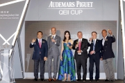 All officiating guests at today��s Selections Announcement raise a toast to success ahead of the 2017 Audemars Piguet QEII Cup. Anthony Kelly, Executive Director, Racing Business and Operations of HKJC; David von Gunten, CEO, Greater China of Audemars Piguet; Michele Reis, Audemars Piguet QEII Cup Ambassador; Nigel Gray, Head of Handicapping, Race Planning and International Racing of HKJC (second from right); Kerm Din, owner of Pakistan Star (right); Johnson Chen, owner of Werther (left).