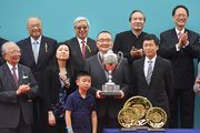 Photos 6, 7, 8: Mr Yeung Tak-keung (front row, right), Commissioner for Sports, Home Affairs Bureau of the Hong Kong Special Administrative Region, presents the Champions Mile trophy and gold-plated dishes to Benson Lo Tak Wing, owner of Contentment, winning trainer John Size and jockey Brett Prebble.