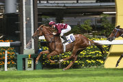 Great Joy, trained by David Hall, races clear for an easy win under Zac Purton in the Class 4 Norfolk Handicap (1650m).