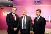 From left: Peter Dombkins, Acting Chief Stipendiary Steward of the Macau Jockey Club; Anthony Kelly, Executive Director, Racing Business and Operations of The Hong Kong Jockey Club and Kwang Eng Seong, Operations Controller of the Macau Jockey Club attend the 2017 Macau Hong Kong Trophy barrier draw ceremony today.