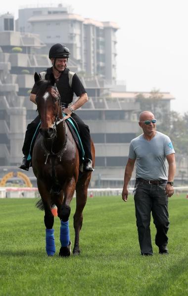 Kevin Bradshaw今早策騎「心意傳達」在沙田馬場進行操練,Mark Westgate (右)在旁打點。