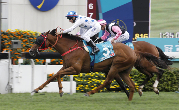 Contentment with Brett Prebble in the saddle claims the Champions Mile (Group 1-1600M).