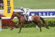 Umberto Rispoli guides Ivictory to win the second section of the Class 4 Sha Tin Heights Handicap (1200m).