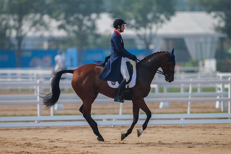香港賽馬會馬術隊騎手,何誕華(馬匹: 「馬會莎琳」)在馬術三項賽首日賽事後,個人暫排名第四。