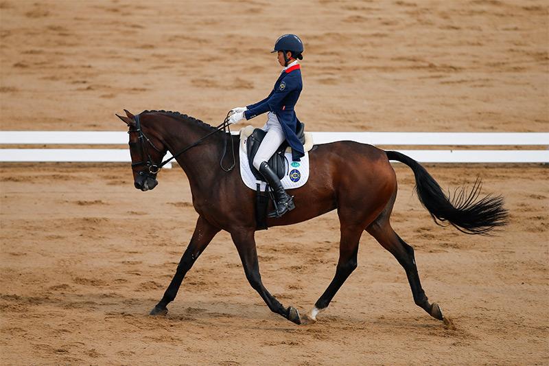 香港賽馬會馬術隊騎手,何苑欣(馬匹: 「馬會愛美」) 在馬術三項賽首日賽事後,個人暫排名第八。