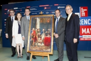 Club Steward Anthony W K Chow (1st right), Consul-General of France in Hong Kong and Macau Arnaud Barthélémy (2nd right), Association Culturelle France-Hong Kong Chairman Dr Andrew Yuen (3rd left), Foundation Alliance FranA§aise Vice President Wendy Siu (2nd left) and Consul of France in Hong Kong and Macau (Culture, Education & Science) Gilles Bonnevialle (1st left) unveil details of the programmes at the Le French May press conference.