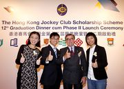 Club Chairman T Brian Stevenson (2nd right) and graduating Scholars (from left) Chartina Jia, Sam Yip and Li Sum Yuet.