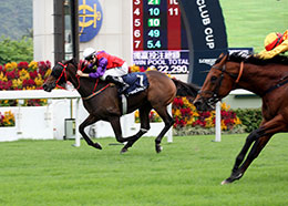 ENDOWING captures his biggest win in the G2 LONGINES Jockey Club Cup (2000m) at Sha Tin racecourse on Sunday, 17 November.