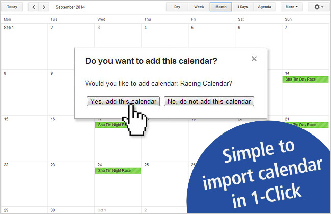 Simple to import calendar in 1-click